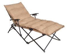 International Caravan ZS-C821L-PD-SB Folding Chaise Lounge Chair in Saddle Brown
