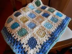 blue striped baby blanket granny squares - Google Search