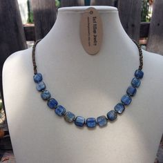 Kyanite and Brass Necklace 18 inches by EastVillageJewelry on Etsy