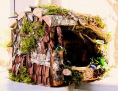 Image detail for -Woodland Garden Fairy House Moss Cottage by BetweenTheWeeds