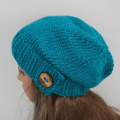 Hand knitted warm slouchy beanie. Soft and by WoolyThinker on Etsy