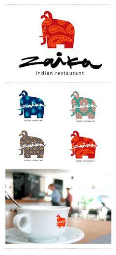 "Zaika ""Bunny."" Logo and identity for the Indian restaurant. ""Зайка"". Лого и стиль для ресторана индийской кухни."