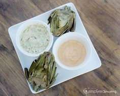 Grilled Artichokes with dipping Sauces