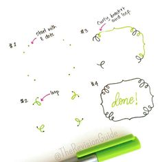 Here's a variation on the eight dot curly bracket border . . Use #TheRevisionGuide_Borders and show me what you've drawn