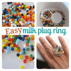 easy milk plug ring craft for kids  I.E. what to do with lids from Rice Dream!