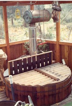 Wood heated hot tub  http://snorkel.com/gallery/in-structure.php
