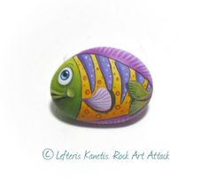 Handmade Pebble Painting Colorful fish Cute by RockArtAttack