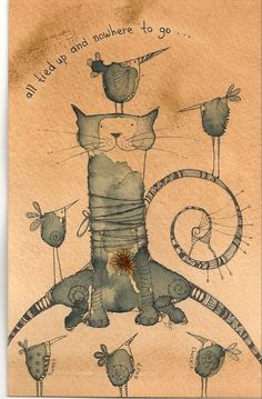 'Tied Up Cat', Ink drawing by Jilly Henderson | Artfinder