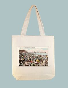 Venice Beach Vintage Postcard 15x15 Canvas Tote - other larger zip top tote style available