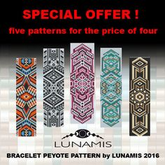 5 x Bracelet peyote patterns made with size 11/0 Miyuki Delica Beads   Patterns include: - Large colored numbered graph paper (and non-numbered in another files) - Bead legend (numbers and names of delica beads colors ) - Word chart - Pattern preview  This pattern is intended for users that have experience with even count peyote or odd count peyote and the pattern itself does NOT include instructions on how to do this stitch. 5 PDF files: (Instant download, links are available once your…