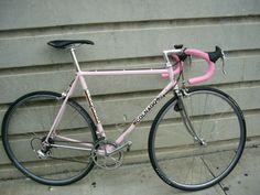 This is from a set of images I found at my old photobucket account with crap small pics. Bikes from my past...  This is Peter Burnham's bike, my ex coworker at my first bike shop gig, Helen's Cycles. Apparently this bike was a built as a special Giro d'Italia color. Pete eventually got it signed on the TT by Ernesto himself.   The bike had a long a murky history of trading hands from girlfriend to girlfriend of another coworker before it ended up with Pete in a covoluted 3 way trade…