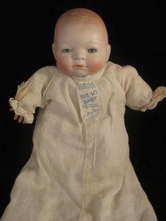 Antique German Bisque Doll BYE-LO Baby Original Tagged Dress Blue Sleep Eyes