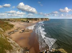 'Three Cliffs Bay' by Anthony Thomas. Three Cliffs Bay is next to Oxwich Beach, Gower, Wales, UK. Aerial Photography, Travel Photography, Aerial Camera, British Beaches, Visit Wales, South Wales, Wales Uk, Photos Of Eyes, Anthony Thomas