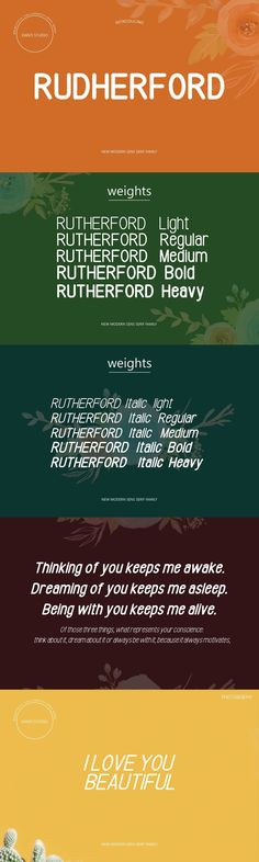 RUTHERFORD Font Family is a new sans serif font that has fonts, Light, Regular, Medium, Bold, Heavy, fonts that are very simple and easily manipulated: logos, slogans and made in advertising messages etc. font file RUTHERFORD Include: RUTHERFORD TTF RUTHERFORD OTF RUTHERFORD ITALIC TTF RUTHERFORD ITALIC OTF Programs that support in this font are a Adobe Photo Shop, Adobe Illustrator, Adobe Indesign, Corel Draw and Microsoft Office. Sans Serif Fonts, Adobe Indesign, Microsoft Office, Font Family, Adobe Illustrator, Slogan, Advertising, Messages, Draw