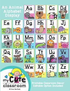 Create a gorgeous happy classroom with our printable alphabet posters. Editable version included. Available in our TpT store From the Pond Learning English For Kids, English Worksheets For Kids, English Lessons For Kids, Kids Learning, Kids English, Alphabet Activities Kindergarten, Preschool Worksheets, Alphabet Display, Subject And Predicate Worksheets