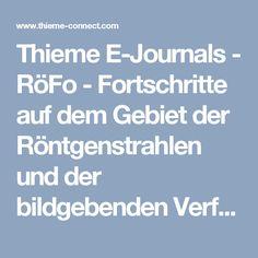 Thieme E-Journals - RöFo - Fortschritte auf dem Gebiet der Röntgenstrahlen und der bildgebenden Verfahren / Abstract