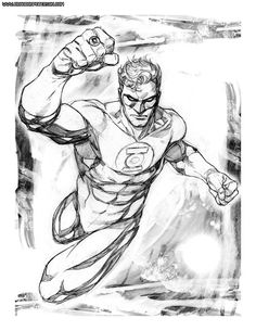 Green Lantern by Brandon Peterson Green Lantern Hal Jordan, Green Lantern Corps, Green Lanterns, Green Lantern Tattoo, Lantern Drawing, Justice League Characters, Marvel Drawings, Comic Drawing, Comic Pictures