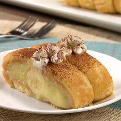 Ladyfinger Roll Cake banana whipped cream plate