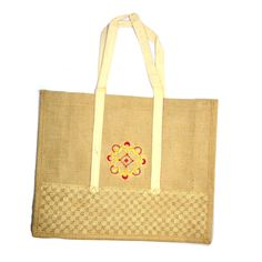Excellent Net Flower & Border Printed Eco Friendly Hand Made Jute Shopping Bag ! #Arishakreationco #HandBag