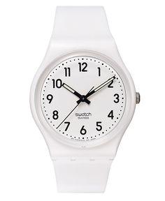 Swatch Watch, Unisex Swiss Just White White Strap 34mm GW151