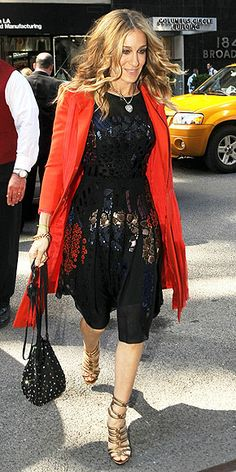 Who made Sarah Jessica Parker's sequin dress, necklace and gold shoes that she wore in New York?