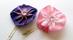 DIY How To Make a Quick and Easy Ribbon Flower Hair Clip - YouTube DIY Ribbon Flowers
