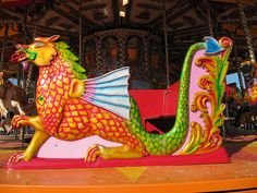 Well-Carved And Colorful Sea Dragon Chariot, Bournemouth Carousel, England