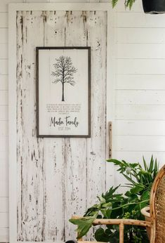 This beautiful wood sign is personalized with your last name and marriage date! #aimeeweaverdesigns #familysign Family Tree Designs, Family Signs, Reclaimed Barn Wood, Hand Painted Signs, Beach House Decor, White Wood, Coastal Decor, Wood Signs, Roots