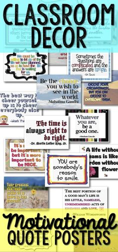 Classroom posters: motivational quotes https://www.teacherspayteachers.com/Product/Classroom-Decor-Signs-Posters-Quotes-63-BW-Color-60616