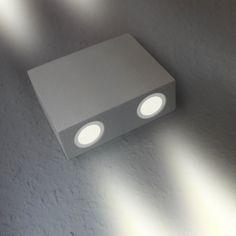 LED Wandstrahler, 4-Flammig, Außenleuchte, Außenlampe, Aluminium, IP44, 230V, Warmweiß, (Form:W17)