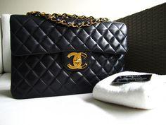 AUTH. CHANEL BLACK VINTAGE LAMBSKIN JUMBO XL CLASSIC FLAP BAG (for Jennifer)  $2,450.00