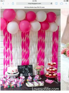 Pink Fab Birthday Party Ideas Crepe paper backdrop Gold girl and