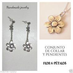 Conjunto-de-collar-y-pendientes-de-plata-tibetana-flor-6-petalos-Hecho-a-mano