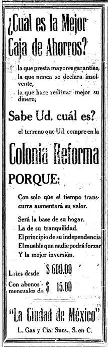 1922 - Venta de terrenos en la colonia Reforma - Anuncio publicado en el Informador Guadalajara, Jalisco México