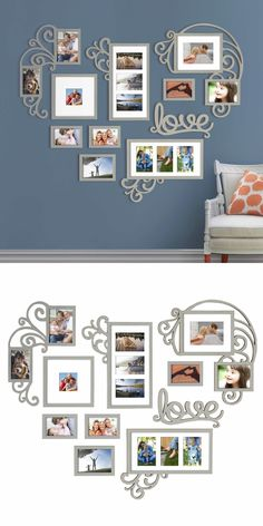 household items: Heart Love Photo Picture Frame Collage Set Silver Wall Art Decor Home Decoration -> BUY IT NOW ONLY: $109.5 on eBay!