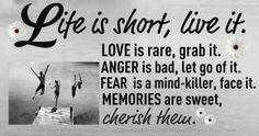 """Life is short, live it.  Love is rare, grab it.  Anger is bad, let go of it.  Fear is a mind-killer, face it.  Memories are sweet, cherish them."""