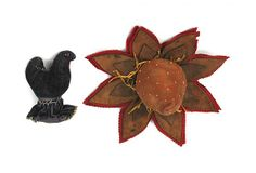 """Felt and leather strawberry pen wipe, 5"""" h., 9 1/2"""" w., together with a chicken pincushion, 5 1/2"""" h. $516"""
