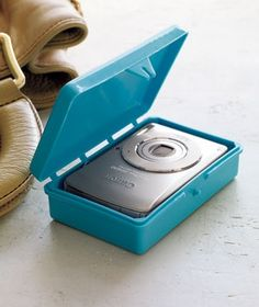 Plastic soap dish perfect for protecting your camera while traveling or store small cords, ear phones etc. mellerann