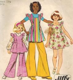 1970s Simplicity 5483 Vintage Sewing Pattern Girls' Pinafore Mini-Dress or Tunic and Bell-Bottom Pants Size 8