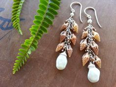 Freshwater Pearl and Shell Earrings in Silver by mejiro on Etsy