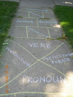 Hopscotch – A Powerful Learning Game. Have a group: one person from each group goes through and the other members have to find the sentence in the bucket using the part of speech correctly.