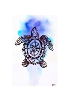 Items similar to Internal Compass- Cute Hand Drawn Sea Turtle Illustration Print on Etsy