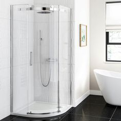 Offset Quardant shower cubicles are reversible and good for maximising space in your bathroom! Choose between a left or right hand corner shower unit. House, Home, Shower Cubicles, Cubicle, Enclosure, Bathroom, White Bathroom, Glass, Pure White