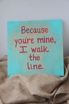 Quote Painting Canvas Song Lyric Art Walk the Line Johnny Cash Turquoise Red Texture Wall Art Home Decor by SilverBirdBoutique