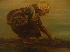 ANTIQUE 19TH CENTURY ITALIAN OIL PAINTING VENICE  - SHELL GATHERING