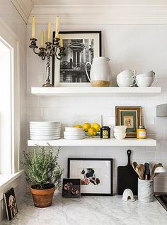 so very french...subway tiles with dark grout, marble shelves with Kitchens Ideas Open Shelf Subway Tile Html on