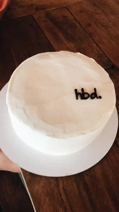 Simple Black & White Icing Decoration // Birthday Cake with HBD Pretty Cakes, Cute Cakes, Sweet Cakes, Funny Birthday Cakes, Happy Birthday, Plain Birthday Cake, Simple Birthday Cakes, Birthday Cake Quotes, Birthday Freebies