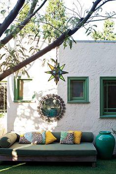 Outdoor Entertaining with Judy Kameon Garden Design Calimesa, CA Outdoor Mirror, Outdoor Couch, Outdoor Rooms, Outdoor Gardens, Outdoor Living, Outdoor Decor, Outdoor Art, Outdoor Furniture, Deco Boheme