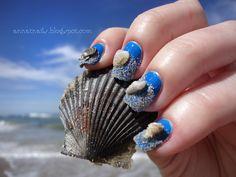 Inspirational photo by Anna Thornton. Sea Shell Nails #nails #nailart #summer #ocean #sand #seashells #blue #revlon  @Bloom.com