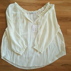 Silk cream Chelsea Flower top Brand new with tags. Silk cream shirt. Sheer and you would need to wear a tank underneath. Perfect with shorts, leggings, or jeans. Great over a bathing suit Chelsea flower  Tops Blouses